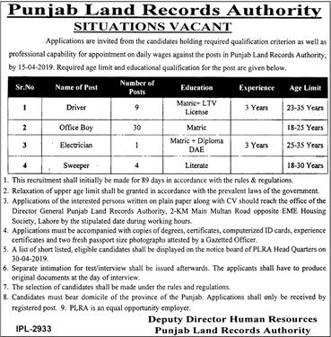 Jobs in Punjab Land Record Authority