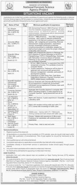 Jobs Through OTS In National Forensic Science Agency - NSFA Jobs2019