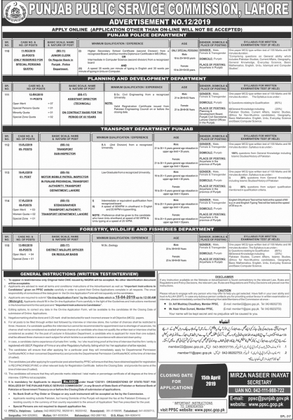 PPSC Jobs Advertisement No.12/2019 - PPSC Jobs April 2019