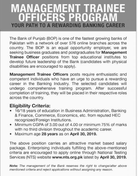 NTS Jobs In Bank Of Punjab (BOP) Trainee Officers Program  2019
