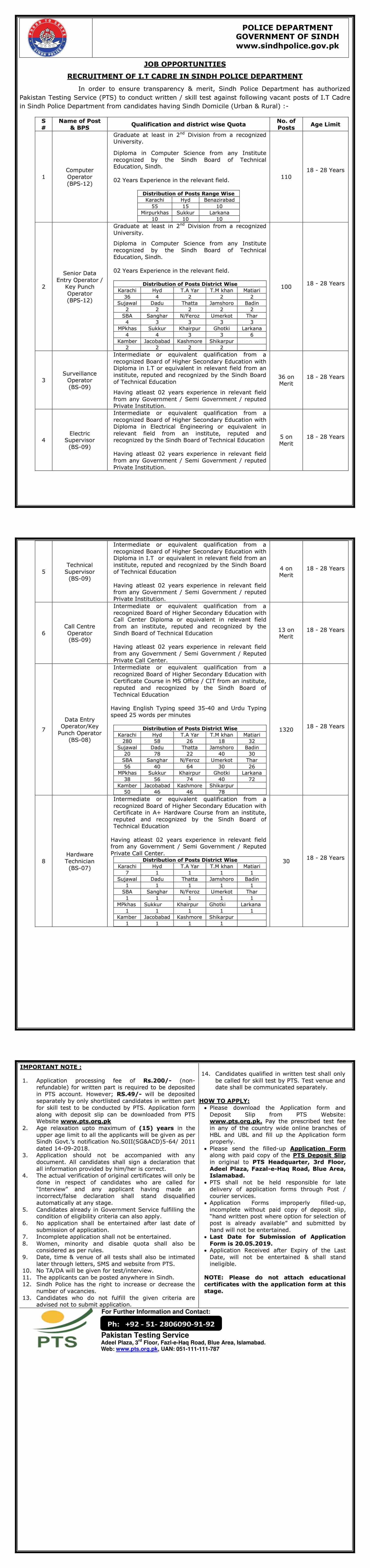 Jobs In I T Cadre Sindh Police Department - Police Jobs 2019