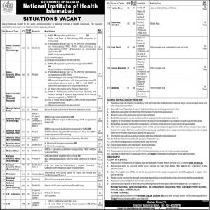 OTS Announced Jobs In National Institute Of Health Islamabad - NIH Jobs by www.ots.org.pk