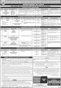 PPSC Jobs Advertisement No.12/2019 - PPSC Jobs April 2019