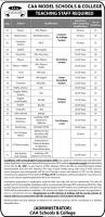 CAA Model School & College Jobs - Educators & teaching Jobs In Pakistan
