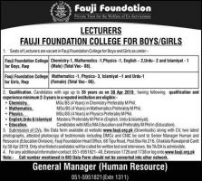 Fauji Foundation College Jobs 2019 April for Lecturer