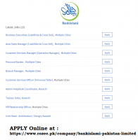 Jobs At BankIslami Pakistan Limited April 2019