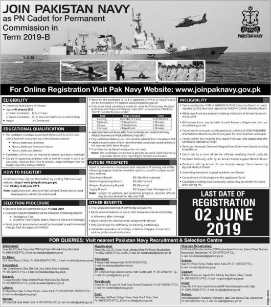 Join Pakistan Navy As PN- Cadet For Permanent COmmsiom in Term 2019-B