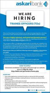 Askari Bank Hiring Trainee Officers -2019 - akbl.com.pk Jobs 2019