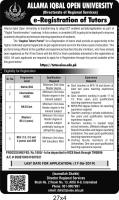 AIOU Tutorship Jobs 2019 Advertisement - Online Apply - Application Form