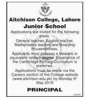 Aitchison College Lahore Teaching Jobs May 2019 Apply Online