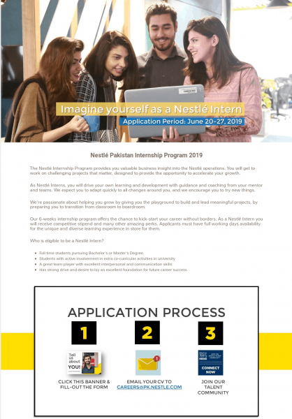 Paid Internship Program By Nestle Pakistan