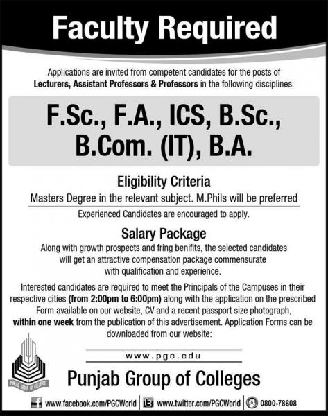 Teaching Jobs In Punjab Group Of Colleges 2019