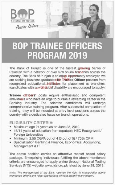 BOP Trainee Officers Program 2019 - BANK OF PUNJAB INTERNSHIPS