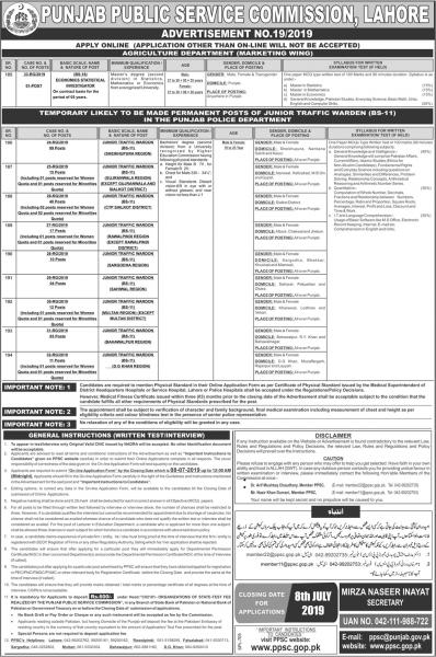 Traffic Warden Jobs In Punjab Police Department Via PPSC Advertisement No.19/2019