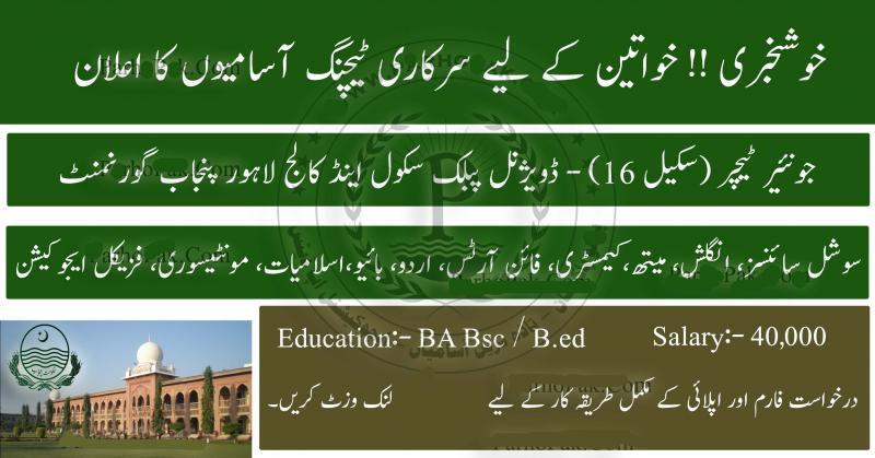 Divisional Public School Inter College Lahore Teaching NTS Jobs 2019