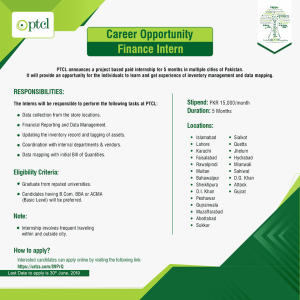 Career Opportunity In PTCL - Finance Intern