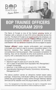 BOP Trainee Officers Program 2019 - BANK OF PUNJAB INTERNSHIPS