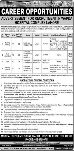 Advertisement For Recruitment In WAPDA Hospital Complex Lahore June 2019
