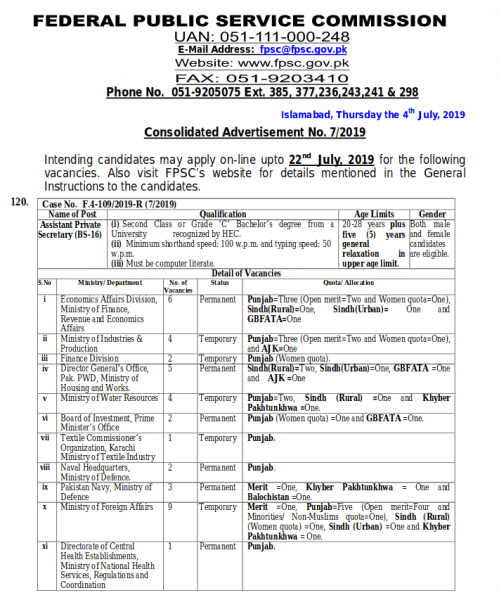 Consolidated Advertisement No. 07/2019 | FPSC Jobs June 2019