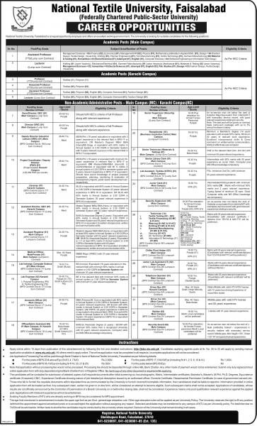 Jobs In National Textile University  For Teaching & Non Teaching Staff