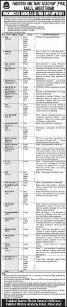 Pakistan Military Academy Kakul Jobs July 2019