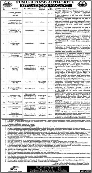 Punjab Food Authority Jobs 2019 For IT Experts, Admins, Technicians And Electrician / Generator Operator