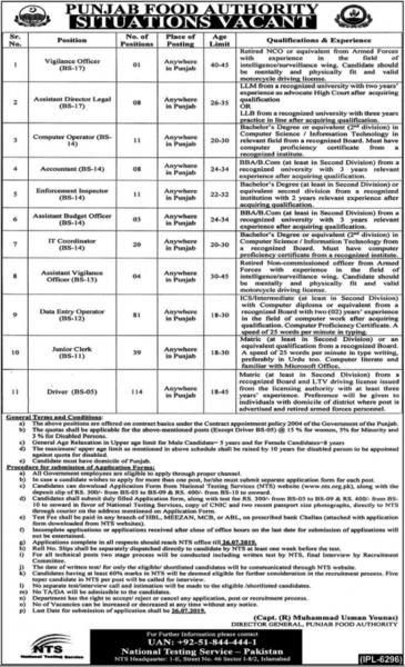 Punjab Food Authority Jobs 2019 For Officers, Computer Operators, Accountants , IT, Clerk, Coordinator And Operator
