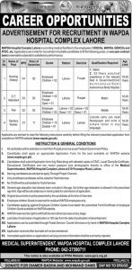 Advertisement For Recruitment In WAPDA Hospital Complex Lahore June 2019