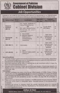 Jobs Opportunities In Cabinet Division - Govt of Pakistan
