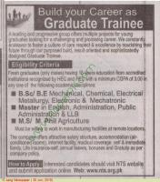 Graduate trainees for a Leading Group of Manufacturing Industries Pakistan