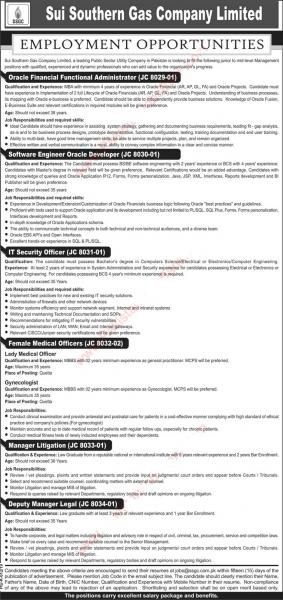 Jobs In Sui Southern Gas Company Limited August 2019