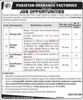 Pakistan Ordnance Factories POF Wah Cantt Jobs August 2019 for Apply Online Latest