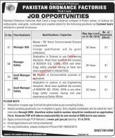 Pakistan Ordnance Factories POF Wah Cantt Jobs August 2019 for Apply Online Latest