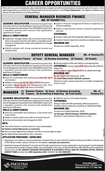 PIA Jobs 2019 Pakistan International Airlines Corporation