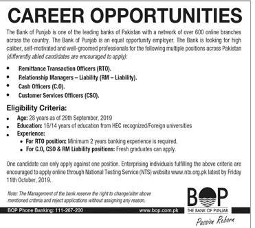 Bank of Punjab Latest Jobs October 2019  | BOP Jobs By NTS | 100+ Vacancies