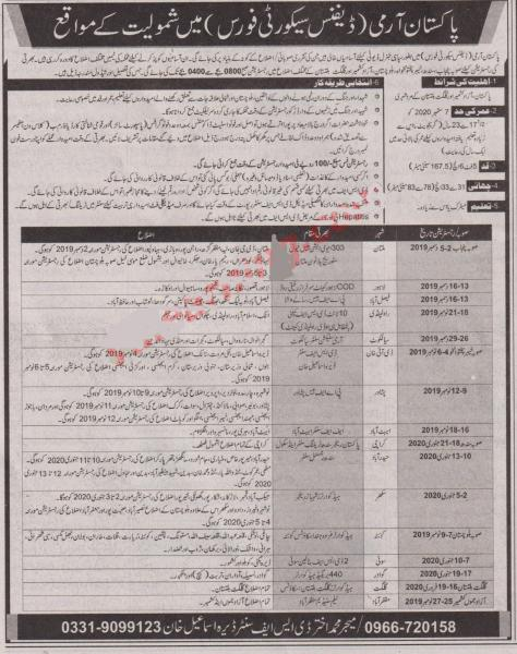 Jobs In Pakistan Army - Defence Security Force - November 2019