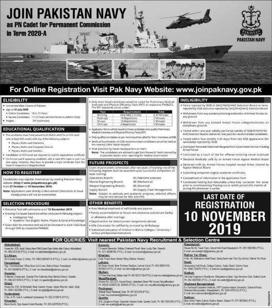 Join Pak Navy November 2019 - Jobs In Pakistan Navy  - Apply Online