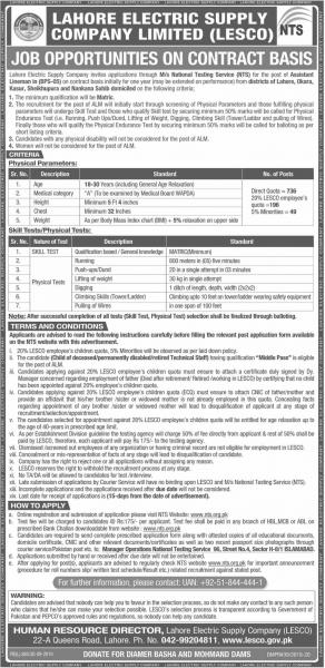 Lahore Electric Supply Company Limited (LESCO) (Career Opportunities)