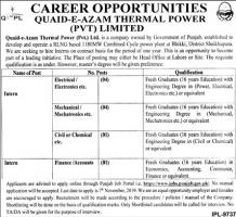 Career Opportunities In Quaid e Azam Thermal Power Private Limited