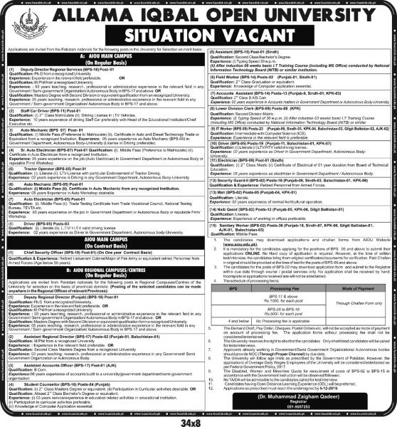 AIOU Jobs Nov 2019 Advertisement  - Online Apply -  Application Form