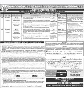 Punjab Police Special Branch November Jobs 2019
