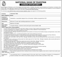 Universal Teller Jobs At National Bank Of Pakistan - nbp Jobs 2019