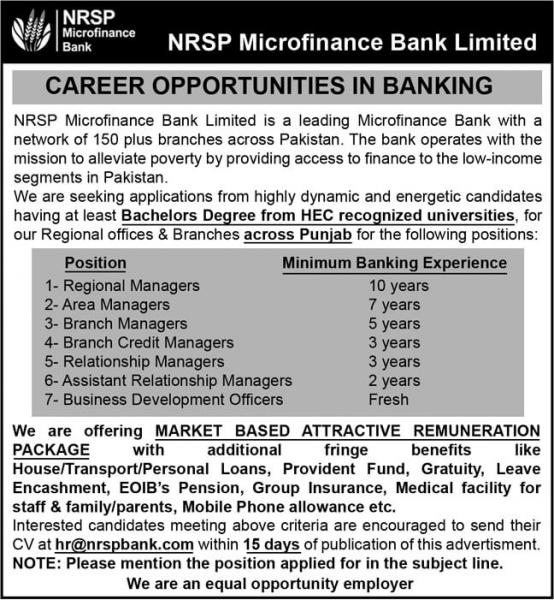 Career Opportunities In NRSP Microfinance Bank Limited
