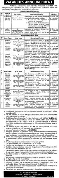 CTD Punjab Police Jobs 2019 - New Advertisement - NTS form Download