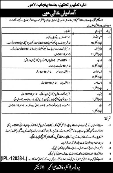 Institute Of Education And Research Jobs 2019 - University of the Punjab