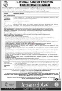 Operations And Branch Manager Jobs In National Bank Of Pakistan