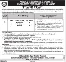 Pakistan Broadcasting Corporation Headquarters Latest Jobs
