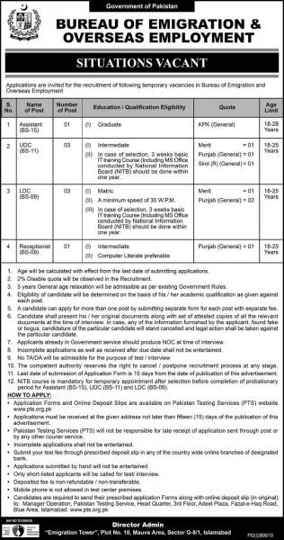 Bureau of Emigration and Overseas Employment Jobs In Pakistan January 2020