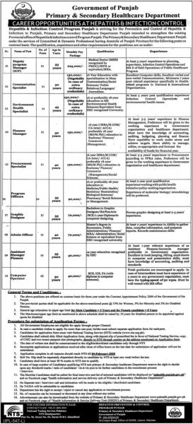 Hepatitis & Infection Control Program Punjab Jobs 2020