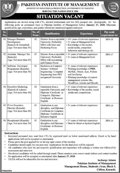 Pakistan Institute of Management PIM Jobs 2020